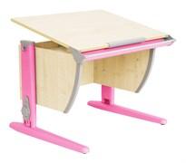 Парта ДЭМИ СУТ-14-02 75х55 см + задняя и боковая приставки (Цвет столешницы:Клен, Цвет ножек стола:Розовый)