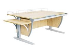 Парта ДЭМИ СУТ-15-02 120х55 см + 2 задние и боковая приставки (Цвет столешницы:Клен, Цвет ножек стола:Серый)
