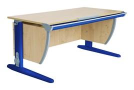 Парта ДЭМИ СУТ-15-02 120х55 см + 2 задние и боковая приставки (Цвет столешницы:Клен, Цвет ножек стола:Синий)
