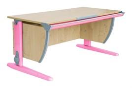 Парта ДЭМИ СУТ-15-02 120х55 см + 2 задние и боковая приставки (Цвет столешницы:Клен, Цвет ножек стола:Розовый)