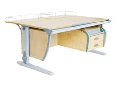Парта ДЭМИ СУТ-15-04 120х55 см + 2 задние приставки и подвесная тумба (Цвет столешницы:Клен, Цвет ножек стола:Серый)