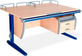 Парта ДЭМИ СУТ-15-04 120х55 см + 2 задние приставки и подвесная тумба (Цвет столешницы:Клен, Цвет ножек стола:Синий)
