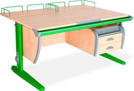 Парта ДЭМИ СУТ-15-04 120х55 см + 2 задние приставки и подвесная тумба (Цвет столешницы:Клен, Цвет ножек стола:Зеленый)