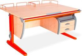 Парта ДЭМИ СУТ-15-04 120х55 см + 2 задние приставки и подвесная тумба (Цвет столешницы:Клен, Цвет ножек стола:Оранжевый)