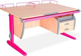 Парта ДЭМИ СУТ-15-04 120х55 см + 2 задние приставки и подвесная тумба (Цвет столешницы:Клен, Цвет ножек стола:Розовый)