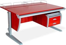 Парта ДЭМИ СУТ-15-04 120х55 см + 2 задние приставки и подвесная тумба (Цвет столешницы:Яблоня, Цвет ножек стола:Серый)
