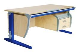 Парта ДЭМИ СУТ-15-05 120х55 см + 2 задние приставки + боковая приставка + подвесная тумба (Цвет столешницы:Клен, Цвет ножек стола:Синий)