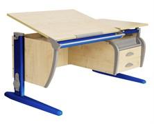 Парта ДЭМИ СУТ-17-04 120х80 см + подвесная тумба + 2 задних приставки (Цвет столешницы:Клен, Цвет ножек стола:Синий)