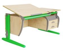 Парта ДЭМИ СУТ-17-04 120х80 см + подвесная тумба + 2 задних приставки (Цвет столешницы:Клен, Цвет ножек стола:Зеленый)