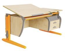 Парта ДЭМИ СУТ-17-04 120х80 см + подвесная тумба + 2 задних приставки (Цвет столешницы:Клен, Цвет ножек стола:Оранжевый)