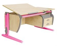 Парта ДЭМИ СУТ-17-04 120х80 см + подвесная тумба + 2 задних приставки (Цвет столешницы:Клен, Цвет ножек стола:Розовый)