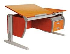 Парта ДЭМИ СУТ-17-04 120х80 см + подвесная тумба + 2 задних приставки (Цвет столешницы:Яблоня, Цвет ножек стола:Серый)