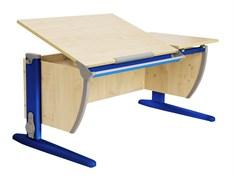 Парта ДЭМИ 120Х55 см с раздельной столешницей (СУТ-17) (Цвет столешницы:Клен, Цвет ножек стола:Синий)