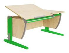 Парта ДЭМИ 120Х55 см с раздельной столешницей (СУТ-17) (Цвет столешницы:Клен, Цвет ножек стола:Зеленый)