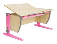 Парта ДЭМИ 120Х55 см с раздельной столешницей (СУТ-17) (Цвет столешницы:Клен, Цвет ножек стола:Розовый)