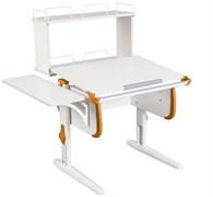 Парта ДЭМИ WHITE СТАНДАРТ СУТ-24-02Д с задней двухъярусной и боковой приставкой (Цвет столешницы:Белый, Цвет боковин:Оранжевый, Цвет ножек стола:Белый)