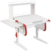 Парта ДЭМИ WHITE СТАНДАРТ СУТ-24-02Д с задней двухъярусной и боковой приставкой (Цвет столешницы:Белый, Цвет боковин:Красный, Цвет ножек стола:Белый)
