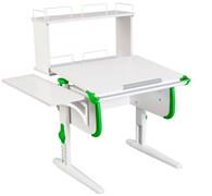 Парта ДЭМИ WHITE СТАНДАРТ СУТ-24-02Д с задней двухъярусной и боковой приставкой (Цвет столешницы:Белый, Цвет боковин:Зеленый, Цвет ножек стола:Белый)