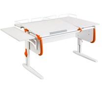 Парта ДЭМИ СУТ-25-02 WHITE DOUBLE с раздельной столешницей, боковой и двумя задними приставками (Цвет столешницы:Белый, Цвет боковин:Оранжевый, Цвет ножек стола:Белый)