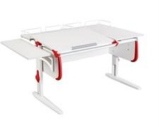 Парта ДЭМИ СУТ-25-02 WHITE DOUBLE с раздельной столешницей, боковой и двумя задними приставками (Цвет столешницы:Белый, Цвет боковин:Красный, Цвет ножек стола:Белый)
