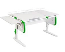 Парта ДЭМИ СУТ-25-02 WHITE DOUBLE с раздельной столешницей, боковой и двумя задними приставками (Цвет столешницы:Белый, Цвет боковин:Зеленый, Цвет ножек стола:Белый)