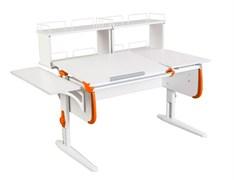 Парта ДЭМИ СУТ-25-02Д2  WHITE DOUBLE с раздельной столешницей, боковой и двумя задними двухярусными приставками (Цвет столешницы:Белый, Цвет боковин:Оранжевый, Цвет ножек стола:Белый)
