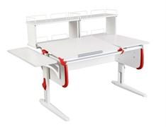 Парта ДЭМИ СУТ-25-02Д2  WHITE DOUBLE с раздельной столешницей, боковой и двумя задними двухярусными приставками (Цвет столешницы:Белый, Цвет боковин:Красный, Цвет ножек стола:Белый)