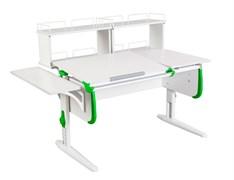 Парта ДЭМИ СУТ-25-02Д2  WHITE DOUBLE с раздельной столешницей, боковой и двумя задними двухярусными приставками (Цвет столешницы:Белый, Цвет боковин:Зеленый, Цвет ножек стола:Белый)