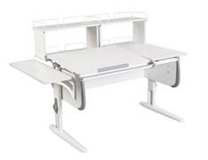 Парта ДЭМИ СУТ-25-02Д2  WHITE DOUBLE с раздельной столешницей, боковой и двумя задними двухярусными приставками (Цвет столешницы:Белый, Цвет боковин:Серый, Цвет ножек стола:Белый)
