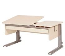 Парта для дома Астек ТВИН-2 с органайзером (Цвет столешницы:Береза, Цвет ножек стола:Серый)