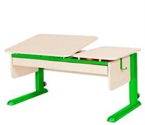 Парта для дома Астек ТВИН-2 с органайзером (Цвет столешницы:Береза, Цвет ножек стола:Зеленый)