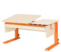 Парта для дома Астек ТВИН-2 с органайзером (Цвет столешницы:Береза, Цвет ножек стола:Оранжевый)