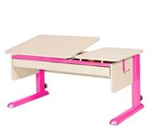 Парта для дома Астек ТВИН-2 с органайзером (Цвет столешницы:Береза, Цвет ножек стола:Розовый)