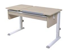 Парта для дома Астек ТВИН-2 с органайзером (Цвет столешницы:Береза, Цвет ножек стола:Белый)