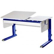 Парта для дома Астек ТВИН-2 с органайзером (Цвет столешницы:Белый, Цвет ножек стола:Синий)
