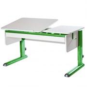 Парта для дома Астек ТВИН-2 с органайзером (Цвет столешницы:Белый, Цвет ножек стола:Зеленый)