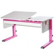 Парта для дома Астек ТВИН-2 с органайзером (Цвет столешницы:Белый, Цвет ножек стола:Розовый)
