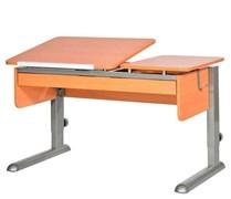 Парта для дома Астек ТВИН-2 с органайзером (Цвет столешницы:Бук, Цвет ножек стола:Серый)