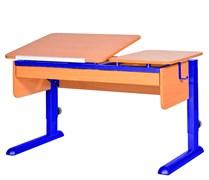 Парта для дома Астек ТВИН-2 с органайзером (Цвет столешницы:Бук, Цвет ножек стола:Синий)