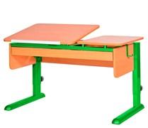 Парта для дома Астек ТВИН-2 с органайзером (Цвет столешницы:Бук, Цвет ножек стола:Зеленый)