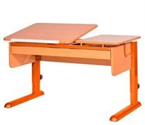 Парта для дома Астек ТВИН-2 с органайзером (Цвет столешницы:Бук, Цвет ножек стола:Оранжевый)