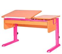 Парта для дома Астек ТВИН-2 с органайзером (Цвет столешницы:Бук, Цвет ножек стола:Розовый)