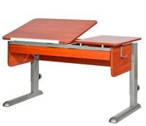 Парта для дома Астек ТВИН-2 с органайзером (Цвет столешницы:Яблоня, Цвет ножек стола:Серый)