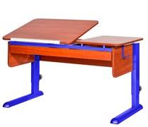 Парта для дома Астек ТВИН-2 с органайзером (Цвет столешницы:Яблоня, Цвет ножек стола:Синий)