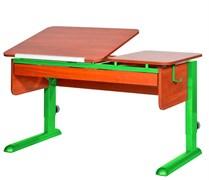 Парта для дома Астек ТВИН-2 с органайзером (Цвет столешницы:Яблоня, Цвет ножек стола:Зеленый)