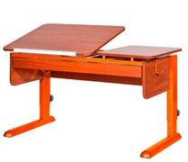 Парта для дома Астек ТВИН-2 с органайзером (Цвет столешницы:Яблоня, Цвет ножек стола:Оранжевый)