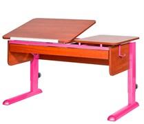 Парта для дома Астек ТВИН-2 с органайзером (Цвет столешницы:Яблоня, Цвет ножек стола:Розовый)