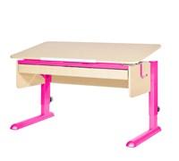 Парта для школьника для дома Астек МОНО-2 с органайзером (Цвет столешницы:Береза, Цвет ножек стола:Розовый)