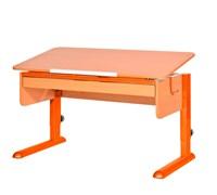 Парта для школьника для дома Астек МОНО-2 с органайзером (Цвет столешницы:Бук, Цвет ножек стола:Оранжевый)