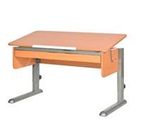 Парта для школьника для дома Астек МОНО-2 с органайзером (Цвет столешницы:Бук, Цвет ножек стола:Серый)